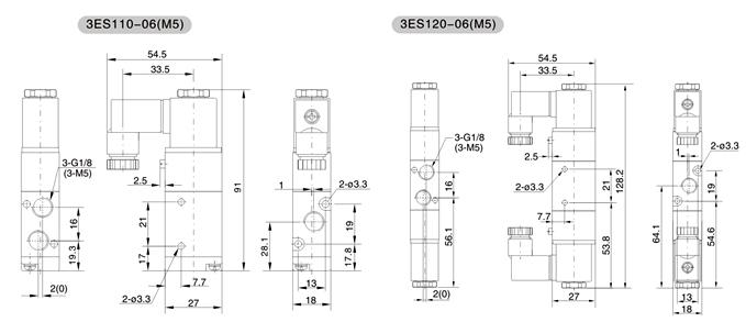 """符号   型号命名   举例 预订购接管口径为G1/8"""",标准电压为AC220V(50/60Hz)的单电控常通型3ES1系列电磁阀,其正确的订购代码为: 3ES110-06-NO-D-AC220V  特点 1.适用工作范围大 2.换向压力大 3.换向速度快 4.使用寿命长 5.单电控采用活塞式内部气压复位,可靠性高  外形与安装尺寸"""